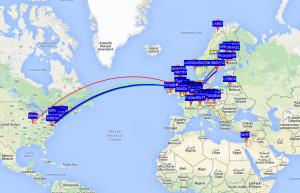 PA3HFN WSPR 50milliwatt map